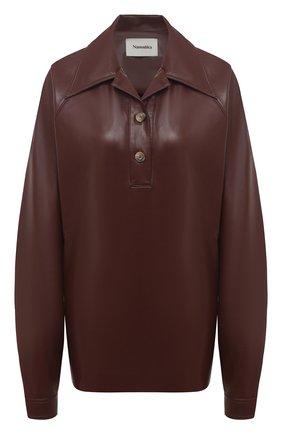 Женская рубашка NANUSHKA коричневого цвета, арт. KEIR0N_PLUM CHUTNEY_VEGAN LEATHER | Фото 1