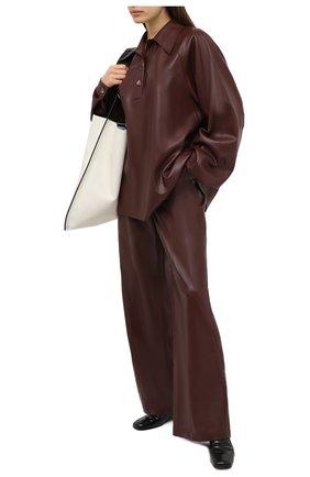 Женская рубашка NANUSHKA коричневого цвета, арт. KEIR0N_PLUM CHUTNEY_VEGAN LEATHER | Фото 2