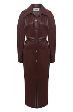 Женское платье NANUSHKA коричневого цвета, арт. SAMI_PLUM CHUTNEY_VEGAN LEATHER | Фото 1