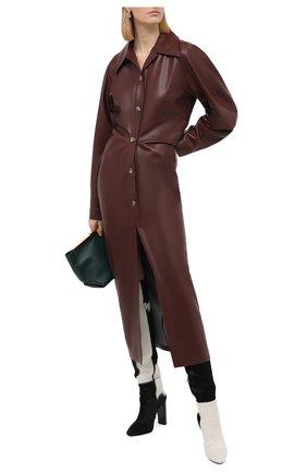 Женское платье NANUSHKA коричневого цвета, арт. SAMI_PLUM CHUTNEY_VEGAN LEATHER | Фото 2