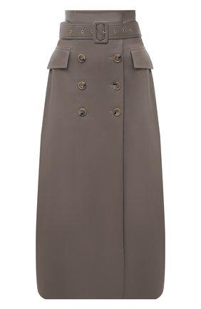 Женская юбка NANUSHKA серого цвета, арт. ZANE_CLAY_VEGAN LEATHER | Фото 1