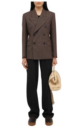 Женские кожаные слипоны BOTTEGA VENETA темно-коричневого цвета, арт. 639739/V02X0 | Фото 2