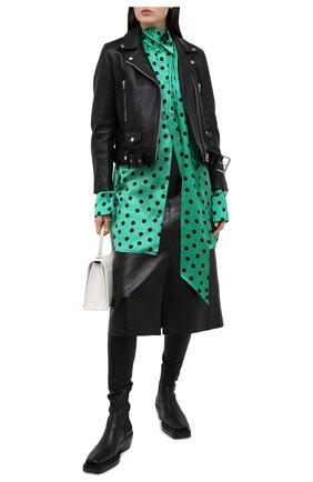 Женская шелковая блузка BALENCIAGA зеленого цвета, арт. 642258/TJLB1 | Фото 2