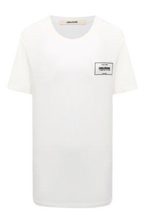 Женская хлопковая футболка ZADIG&VOLTAIRE белого цвета, арт. WJTS1804H | Фото 1