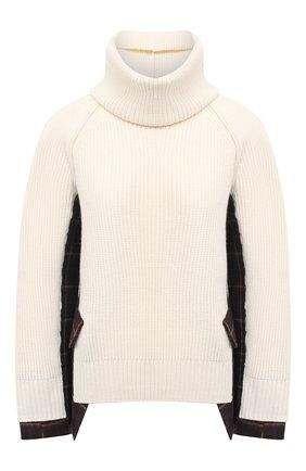 Женский шерстяной свитер SACAI белого цвета, арт. 20-05204 | Фото 1