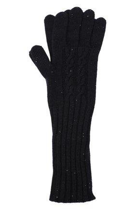 Женские кашемировые перчатки LORO PIANA темно-синего цвета, арт. FAL4381 | Фото 1 (Материал: Кашемир, Шерсть)
