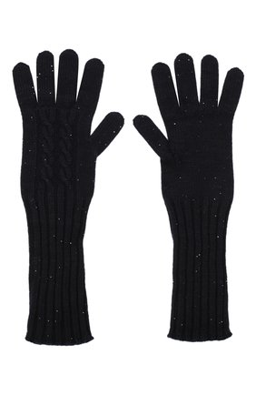 Женские кашемировые перчатки LORO PIANA темно-синего цвета, арт. FAL4381 | Фото 2 (Материал: Кашемир, Шерсть)