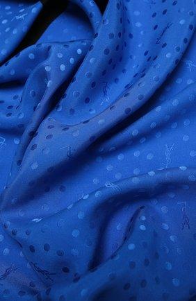 Женский шелковый платок SAINT LAURENT голубого цвета, арт. 641357/3Y011 | Фото 2
