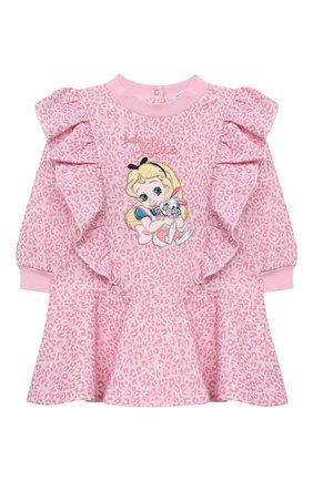 Женский хлопковое платье MONNALISA розового цвета, арт. 396912RM | Фото 1