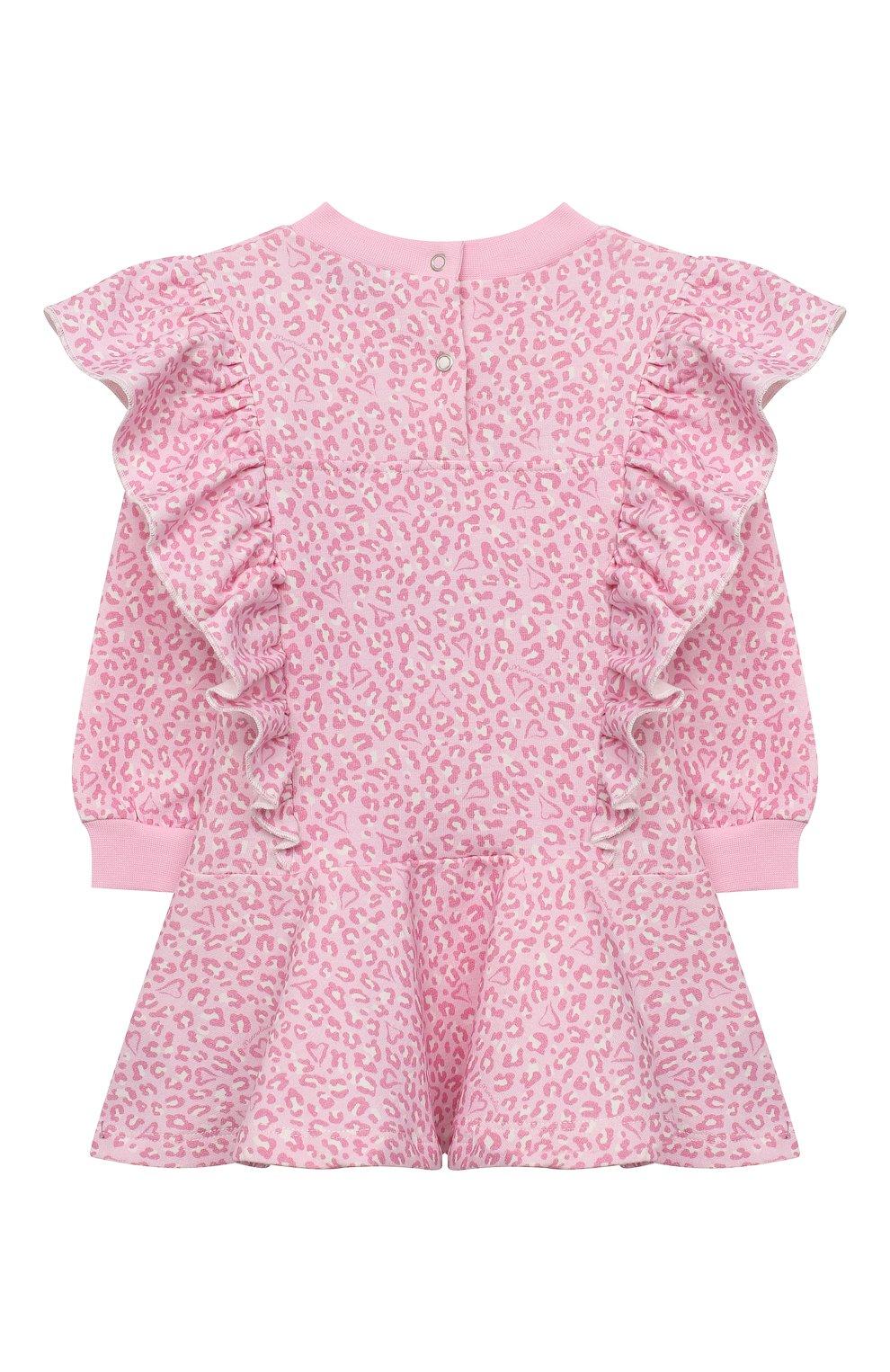 Женский хлопковое платье MONNALISA розового цвета, арт. 396912RM | Фото 2