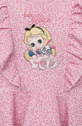Женский хлопковое платье MONNALISA розового цвета, арт. 396912RM | Фото 3