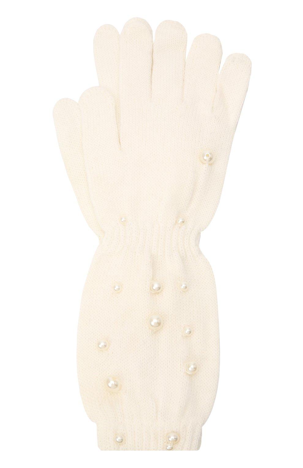 Детские шерстяные перчатки MONNALISA белого цвета, арт. 796016   Фото 1
