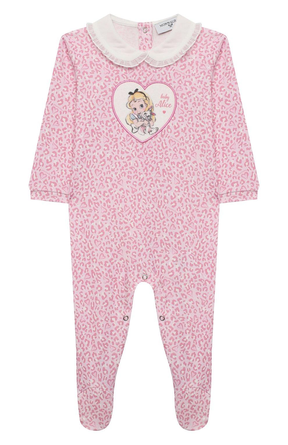Детский хлопковый комбинезон MONNALISA розового цвета, арт. 356212RN | Фото 1