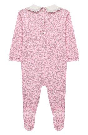 Детский хлопковый комбинезон MONNALISA розового цвета, арт. 356212RN | Фото 2