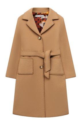Детское шерстяное пальто DOLCE & GABBANA бежевого цвета, арт. L53C99/FU21J/2-6 | Фото 1