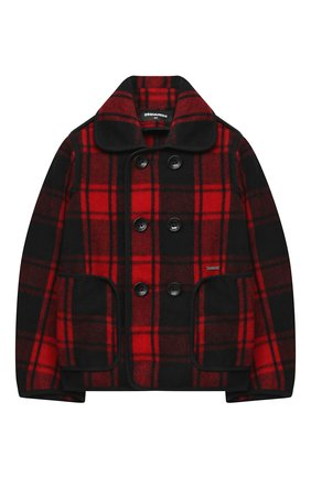 Детское шерстяное пальто DSQUARED2 красного цвета, арт. DQ04BL-D00ZS | Фото 1