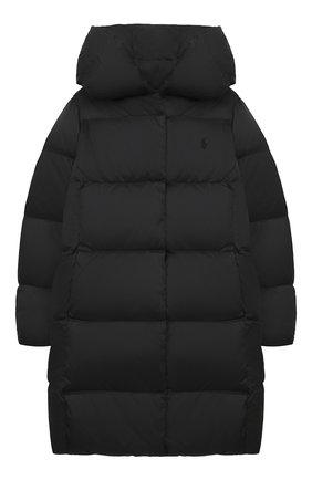 Детское пуховое пальто POLO RALPH LAUREN черного цвета, арт. 313795699 | Фото 1