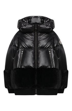 Детского пуховая куртка MONCLER черного цвета, арт. F2-954-1A561-10-54A8U/8-10A | Фото 1