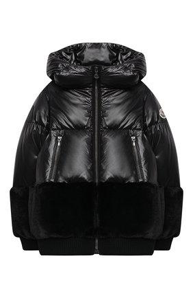 Детского пуховая куртка MONCLER черного цвета, арт. F2-954-1A561-10-54A8U/4-6A | Фото 1