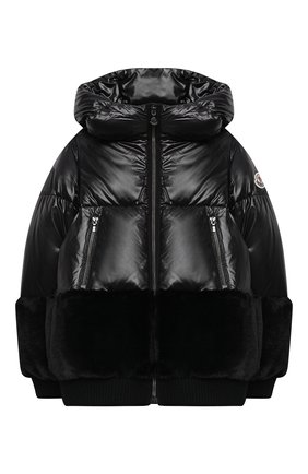 Детского пуховая куртка MONCLER черного цвета, арт. F2-954-1A561-10-54A8U/12-14A | Фото 1