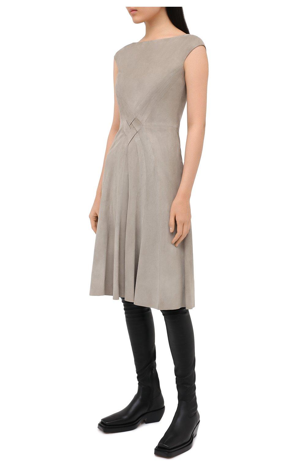 Женское замшевое платье RALPH LAUREN серого цвета, арт. 290818153 | Фото 3