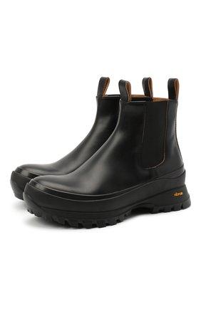 Женские кожаные ботинки JIL SANDER черного цвета, арт. JP33010A-10020 | Фото 1