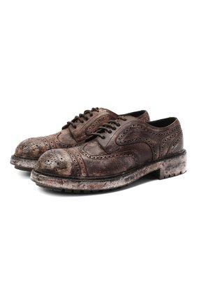 Мужской кожаные дерби bernini DOLCE & GABBANA коричневого цвета, арт. A10655/AX535 | Фото 1
