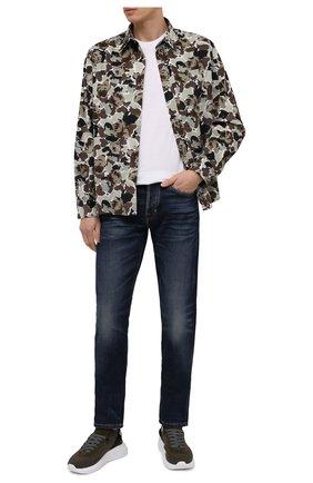 Мужская хлопковая рубашка KENZO хаки цвета, арт. FA65CH4019B1 | Фото 2