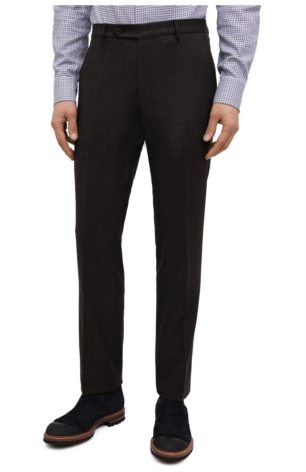 Мужские шерстяные брюки BERWICH темно-коричневого цвета, арт. SC/1 ALC/VB2108   Фото 3 (Материал внешний: Шерсть; Длина (брюки, джинсы): Стандартные; Стили: Классический; Случай: Формальный; Материал подклада: Купро)