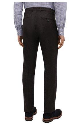 Мужские шерстяные брюки BERWICH темно-коричневого цвета, арт. SC/1 ALC/VB2108   Фото 4 (Материал внешний: Шерсть; Длина (брюки, джинсы): Стандартные; Стили: Классический; Случай: Формальный; Материал подклада: Купро)
