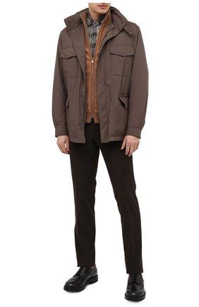 Мужская хлопковая рубашка CORNELIANI коричневого цвета, арт. 86P156-0811525/00   Фото 2