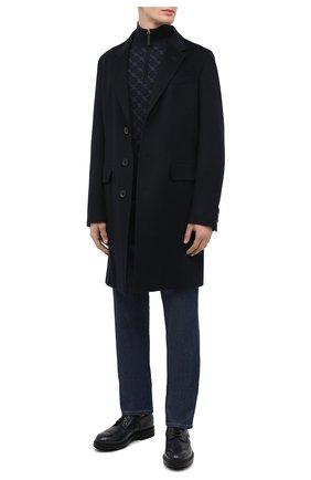 Мужской кожаные дерби SANTONI темно-синего цвета, арт. MGMI17405JK3ZMMCU60 | Фото 2