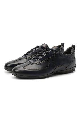 Мужские кожаные кроссовки SANTONI темно-синего цвета, арт. MSAM21410NARRTQIU40   Фото 1