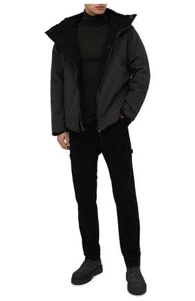 Мужской шерстяная водолазка TRANSIT хаки цвета, арт. CFUTRM15501 | Фото 2 (Длина (для топов): Стандартные; Материал внешний: Шерсть; Рукава: Длинные; Мужское Кросс-КТ: Водолазка-одежда; Принт: Без принта; Стили: Панк)