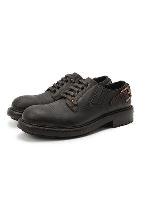 Мужской кожаные дерби DOLCE & GABBANA темно-коричневого цвета, арт. A10656/AW374 | Фото 1