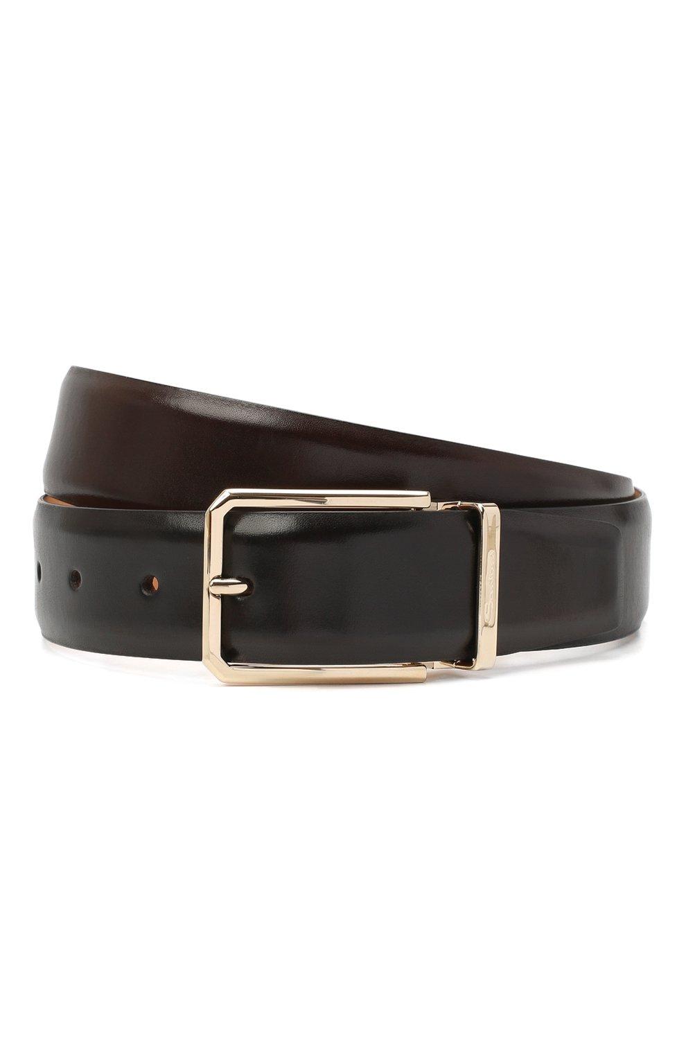 Мужской кожаный ремень SANTONI темно-коричневого цвета, арт. CM35NS003B90HVVDT50   Фото 1