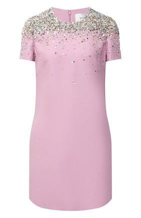 Женское платье из шерсти и шелка VALENTINO розового цвета, арт. UB3VATG51CF | Фото 1