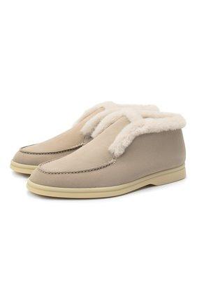 Женские замшевые ботинки LORO PIANA светло-бежевого цвета, арт. FAG3602 | Фото 1