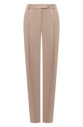 Женские шерстяные брюки BOSS бежевого цвета, арт. 50440970 | Фото 1