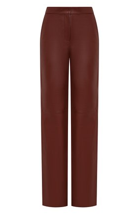 Женские кожаные брюки BOSS коричневого цвета, арт. 50449272 | Фото 1