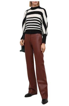 Женские кожаные брюки BOSS коричневого цвета, арт. 50449272 | Фото 2