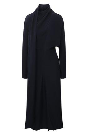 Женское шелковое платье BOSS темно-синего цвета, арт. 50449274 | Фото 1