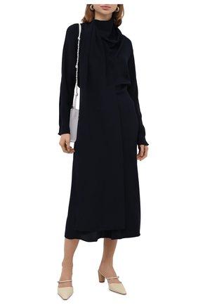 Женское шелковое платье BOSS темно-синего цвета, арт. 50449274 | Фото 2