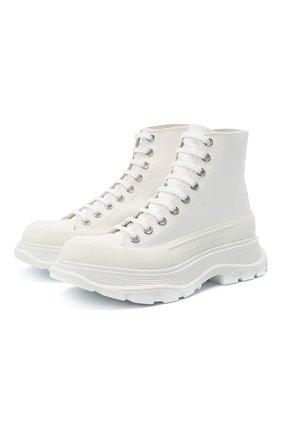 Женские текстильные ботинки ALEXANDER MCQUEEN белого цвета, арт. 611706/W4L32 | Фото 1