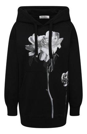 Женская хлопковое худи VALENTINO черно-белого цвета, арт. UB0MF07M5YN | Фото 1