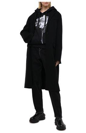 Женская хлопковое худи VALENTINO черно-белого цвета, арт. UB0MF07M5YN | Фото 2