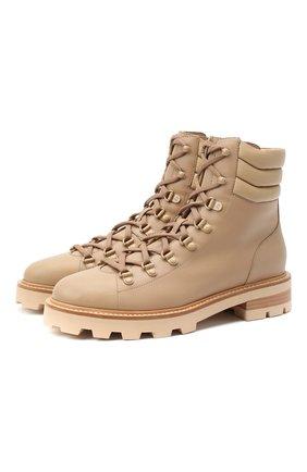 Женские кожаные ботинки eshe JIMMY CHOO бежевого цвета, арт. ESHE FLAT/HLN | Фото 1