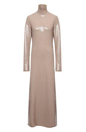 Женское платье с пайетками BOTTEGA VENETA светло-бежевого цвета, арт. 636546/V07E0 | Фото 1