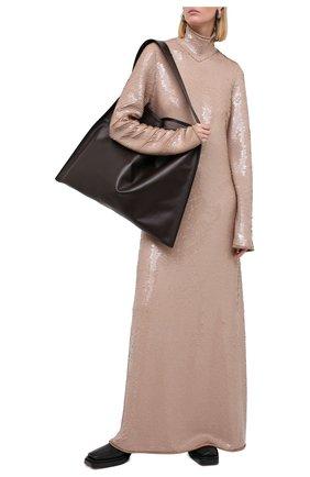 Женское платье с пайетками BOTTEGA VENETA светло-бежевого цвета, арт. 636546/V07E0 | Фото 2