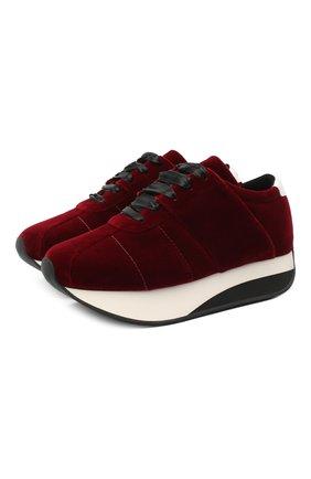 Женские текстильные кроссовки bigfoot MARNI бордового цвета, арт. SNZW000704/P3784   Фото 1